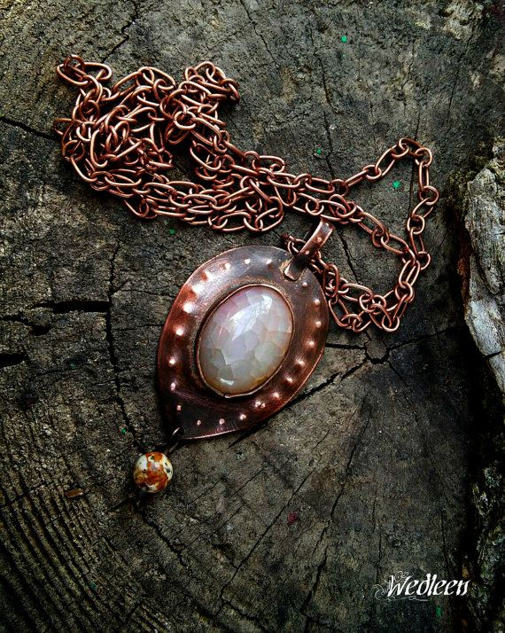 Copper pendant agate dragon veins. Medieval by JewellerybyWedleen