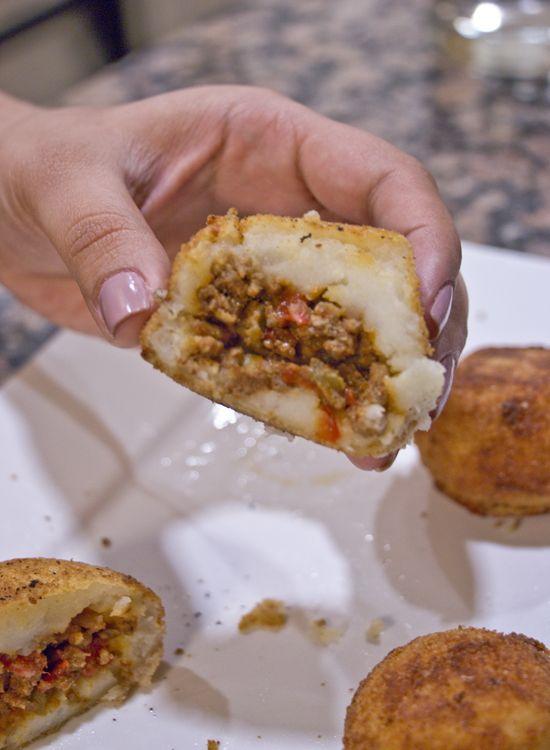 Cuban Stuffed Potato Balls  #appetizers #cubanfood