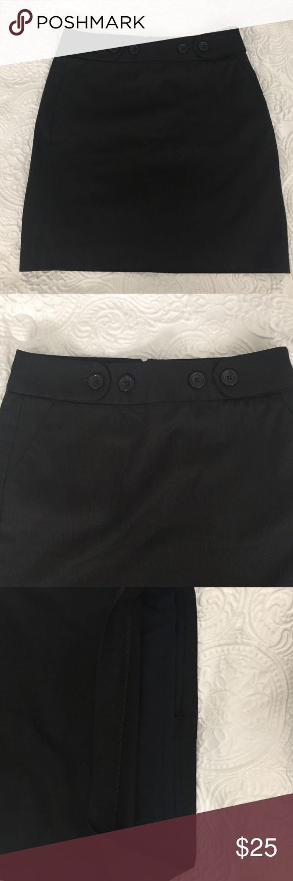Banana republic petite pencil skirt Size 2 petite. Black lined pencil skirt with four buttons at the top. ( shell 70% polyester28% rayon 2% spandex, lining 95% polyester 5% spandex) Banana Republic Skirts Pencil