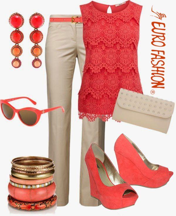 Luce atractiva y alegre con este outfit encendido por el color salmón y equilibrado con un tono beige claro. #fashionwork