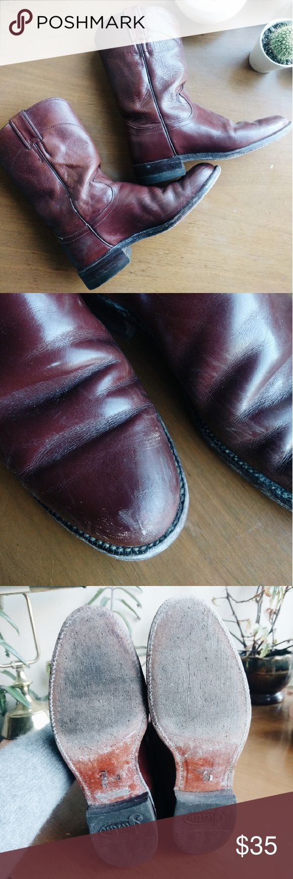 Justin work boots oxblood Distressed leather Justin work boots. Scuffs on toes, and creases in the leather. Western style boot comes mid calf Justin Boots Shoes