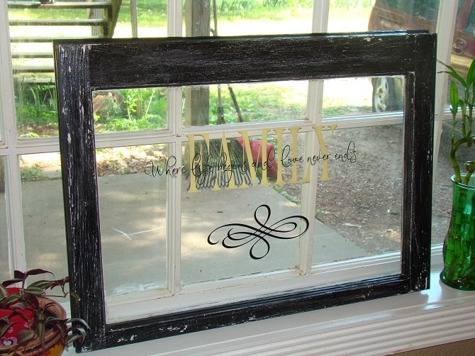 Old wooden window with vinyl lettering vinyl ideas for Vinyl window designs