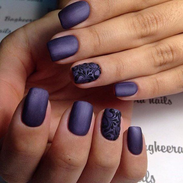 Here is very stylish and strict version of decoration for fingers. Dark, almost black violet of a base colour has a matte, as a velvety texture. A raised p