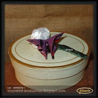 silk ribbon rose bud and origami butterfly