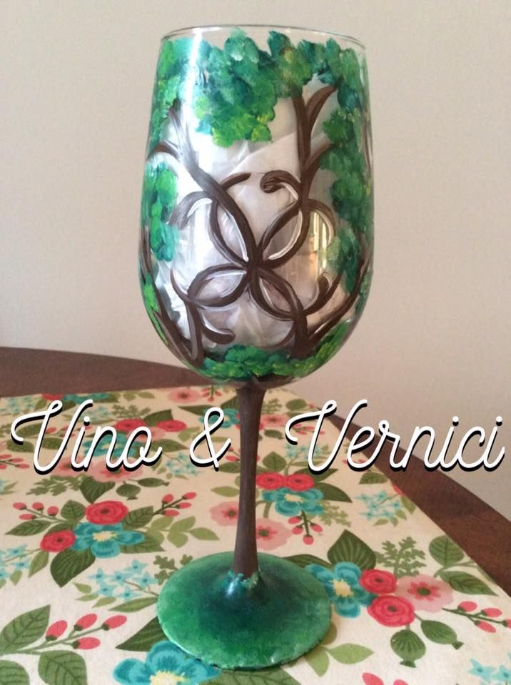 Tree of Life, Painted Wine Glass, Vino & Vernici