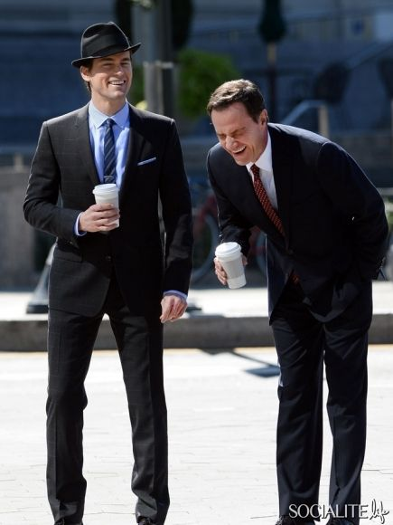 "Matt Bomer and Tim DeKay on location for ""White Collar"" in Brooklyn. September 18, 2013."