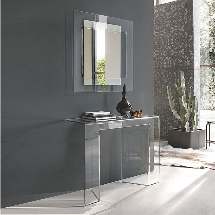 Curved glass console beauty table Sagitta by Target Point