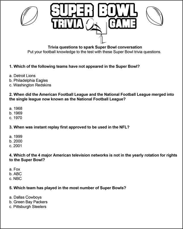 Print Play In 2020 Super Bowl Trivia Sports Trivia Questions Football Trivia Game