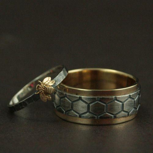 Honey Bee Mine Wedding Ring Set