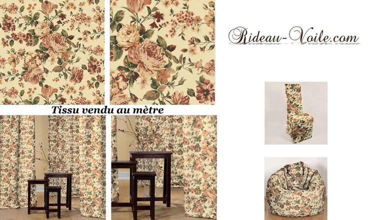au nom de la rose tissu coton rideau curtain drapes flowers decoration sur mesure pinterest. Black Bedroom Furniture Sets. Home Design Ideas