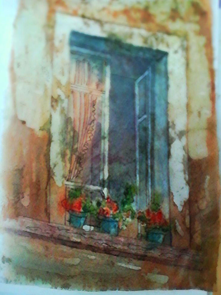 Gracias por tu tutorial  K.George- Batik  acuarela: Un antiguo  balcón