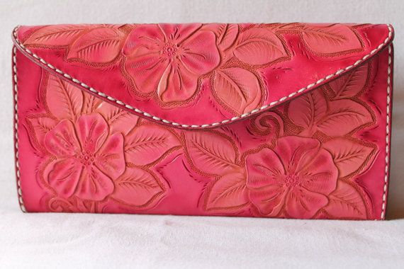 Pink leather clutch wallet by AcrossLeather on Etsy
