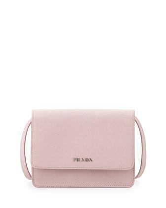 Prada Saffiano Lux Crossbody Bag, Light Pink (Mughetto)