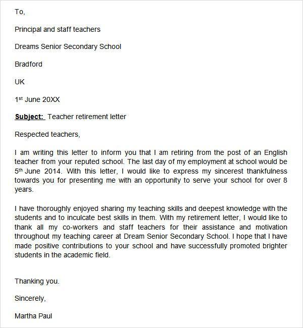Sample Retirement Letter Retirement Letter To Employer Letter