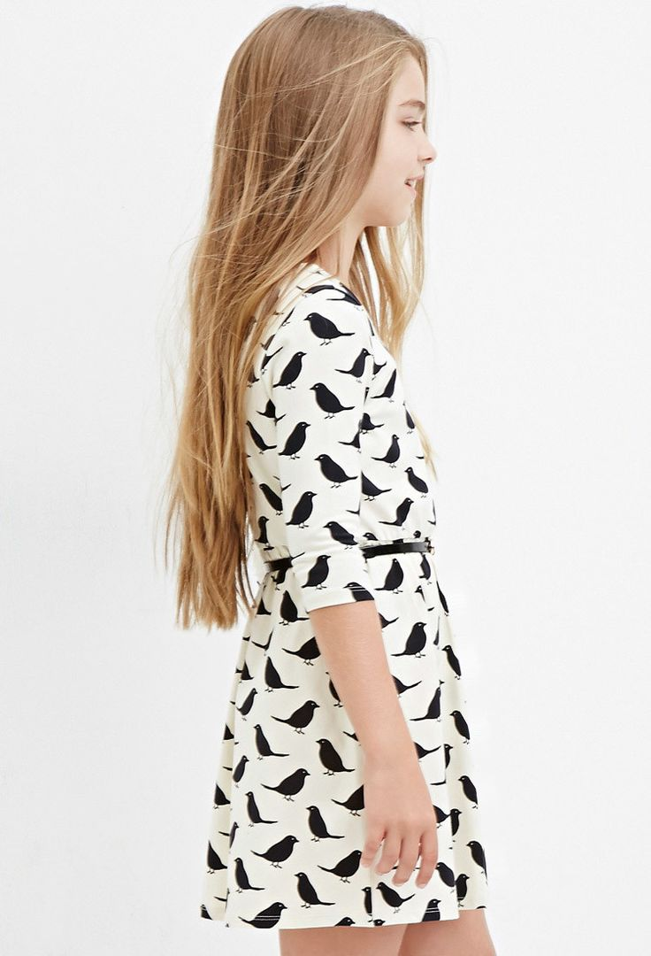 Girls Bird Print Dress