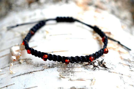 Baltic amber macrame bracelet, Cogniac amber bracelet, Gift for her, Beaded bracelet, Benuine amber, Shamballa bracelet, Freindship bracelet
