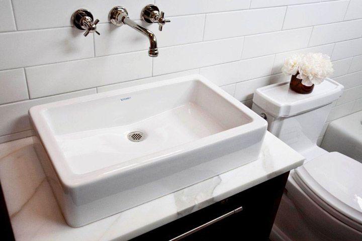 Vessel Sink polished nickel wall-mount faucet subway tiles backsplash ...