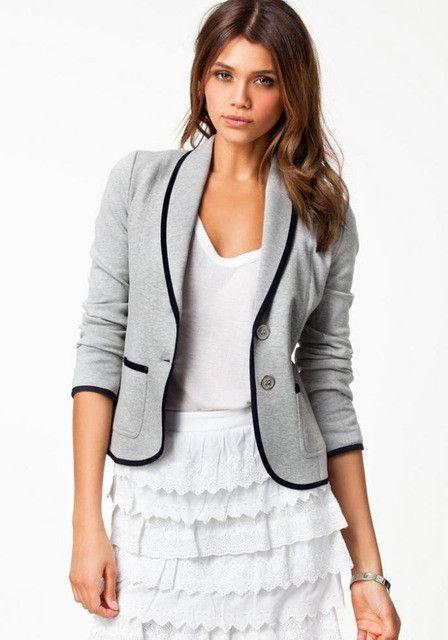 Women's Spring Slim Short Design Turn-down Collar Blazer Grey Short Coat