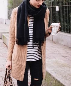 Black scarf, breton stripe tee, camel cardigan, and black jeans. So polished and stylish.