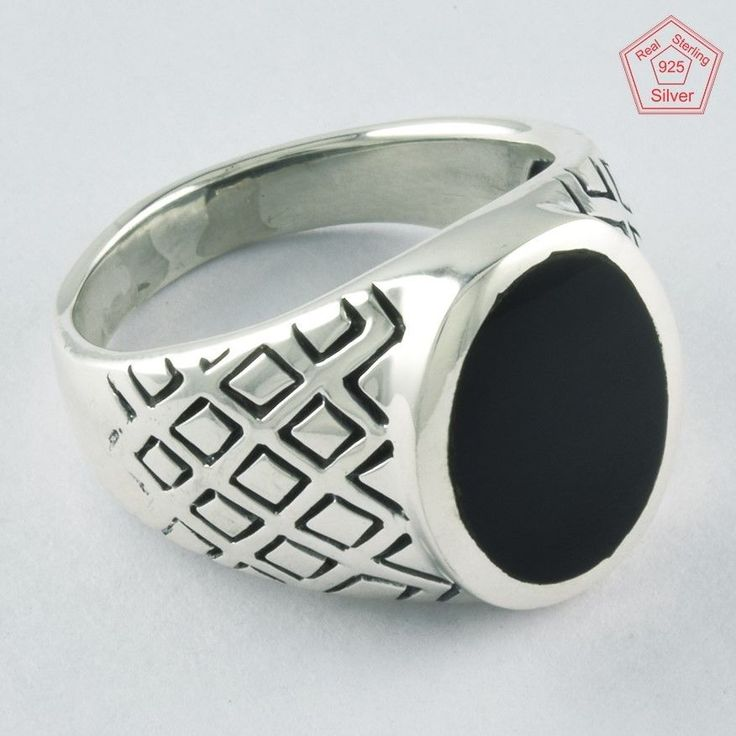 Checker Design-Black Onyx Stone 925 Sterling Silver Men's Ring R4283, Sz.11.5 US #SilvexImagesIndiaPvtLtd #Statement #AllOccasion