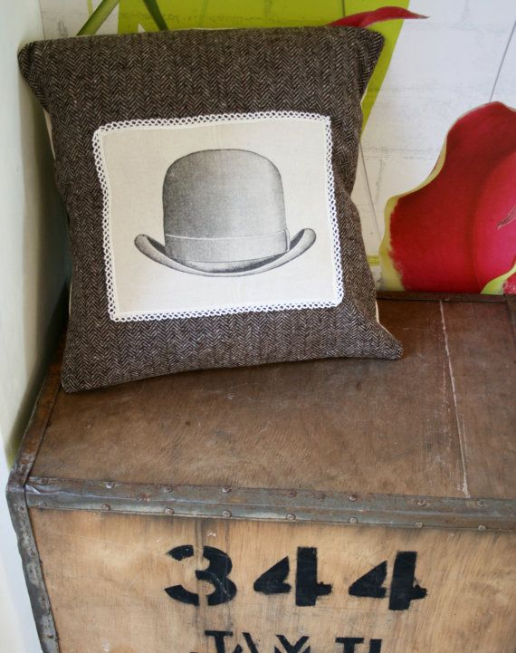 Beautiful Shabby Chic Rustic Vintage Men's Bowler Hat Graphic Unique Tweed Throw Pillow Scatter Cushion