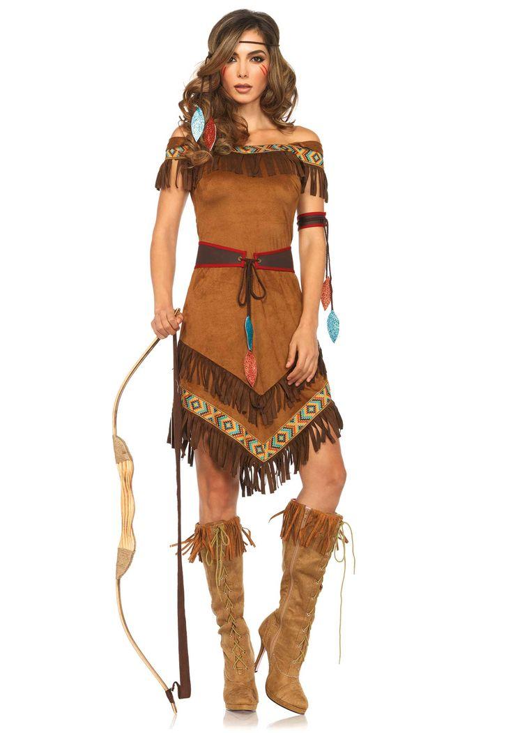 Déguisement indienne femme : Ce déguisement d'indienne pour femme est composé d'une robe, d'une ceinture, d'un brassard et d'un bandeau (arc et bottes non inclus). La robe est en matière...