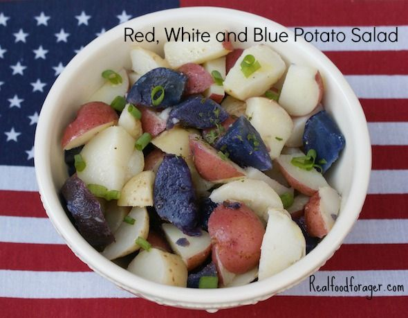 Red, White and Blue Potato Salad | salad | Pinterest