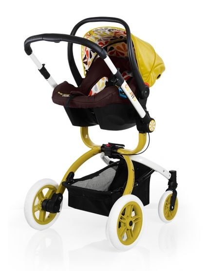 Ooba Travel System from Cosatto in Marzipan Yellow Car Seat mode - #cosatto #pattern #print #colour #pushchair #travelsystem #multicoloured #luxury #carseat #infantcarrier
