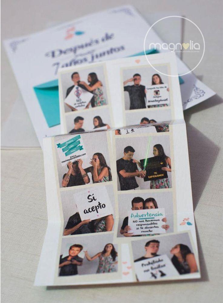 Invitaciones originales para bodas  Sesión de fotos divertida para tus invitaciones!  #bodasoriginales #bodasmagnolia #invitacionesoriginales #partes #bodas #fotos #original #creativo #invitaciones