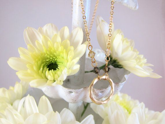 Gold Round Textured RIng / Infinity Circle Necklace with Swarovski Crystal Accents