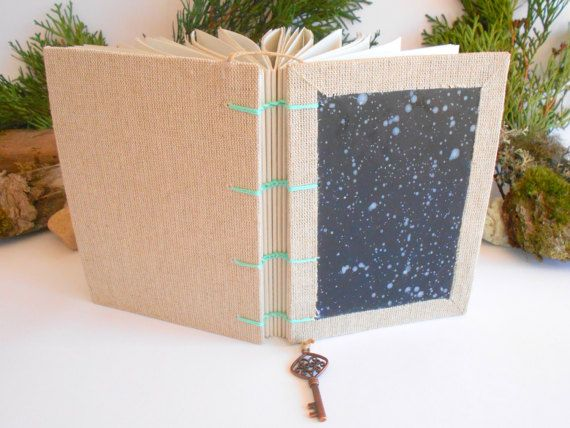 Art travel journal Star Sky coptic binding and by ExiArtsEcoCrafts