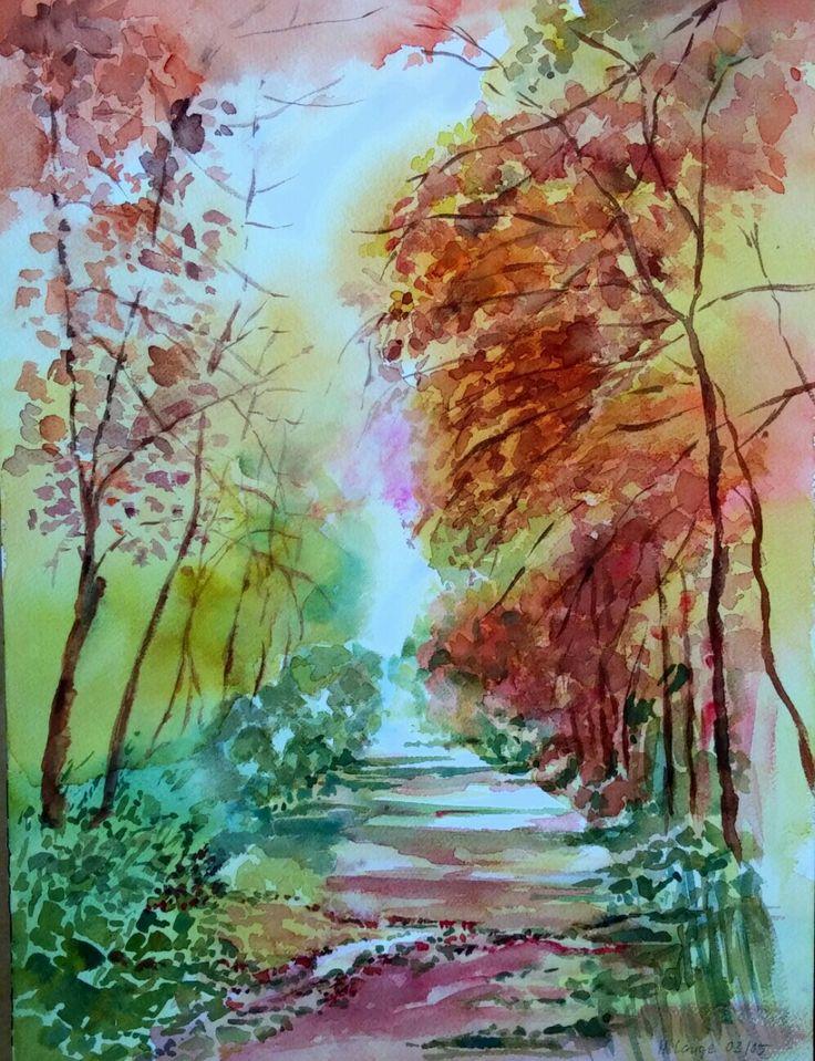 Herbstlandschaft aquarell my art pinterest for Pinterest malen