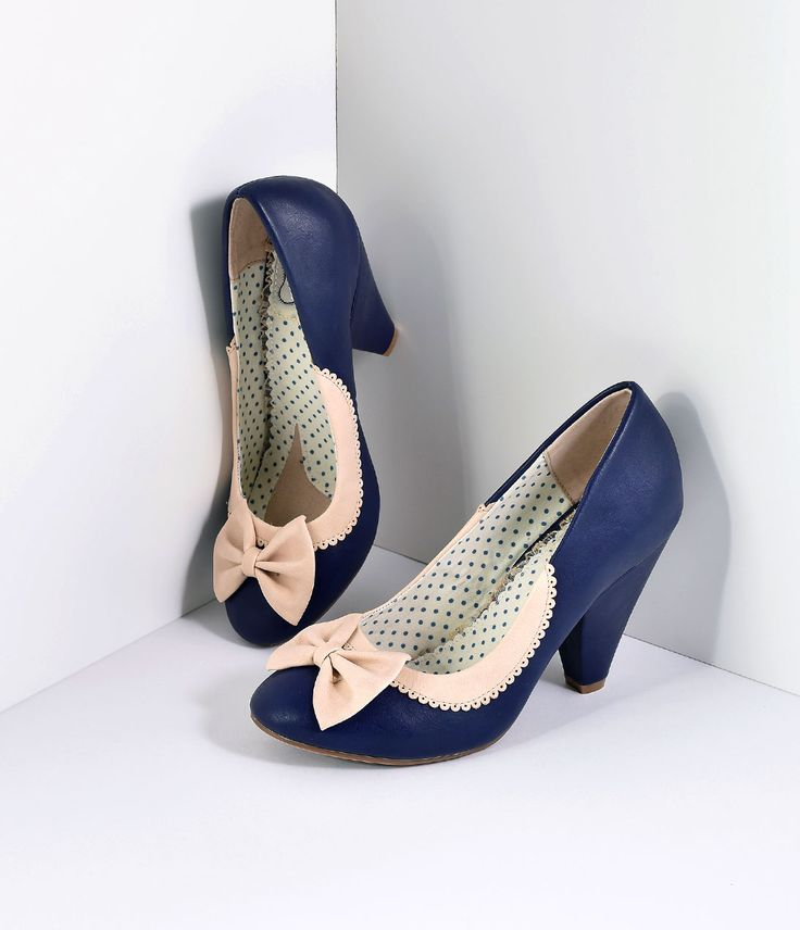1940s Style Shoes Bettie Page Navy Ivory Leatherette Bailey Bow Pumps Shoes $69.00 AT vintagedancer.com