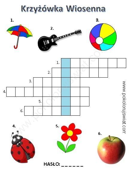 Krzyżówka wiosenna dla dzieci do wydruku