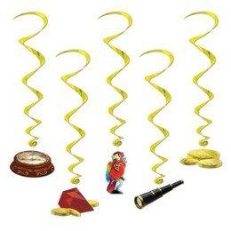 Hangdecoraties Whirls Adventure -  Een set met 5 hangdecoraties voor een jungle party. Lengte: gemiddeld 90cm.