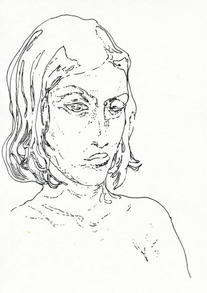 Jasper Sebastian Stürup. In The Bath. 2012. 17x12 cm. Ink on paper.
