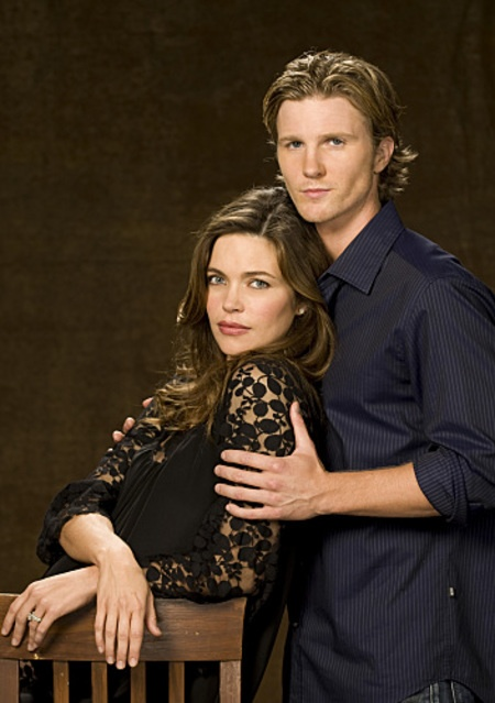 Real life couple Amelia Heinle and Thad Luckinbill star as Victoria Newman Hellstrom and J.T. Hellstrom on The Young and the Restless.