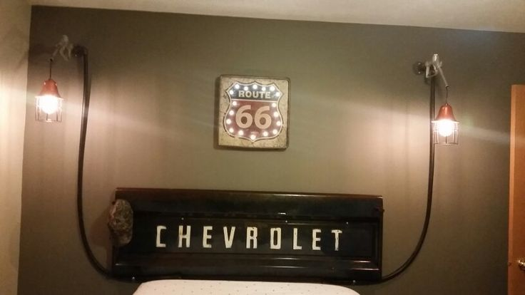 Chevy Man Cave Decor : Chevy tailgate headboard gas pump lights chevrolet