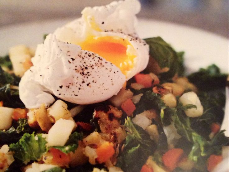 VEGETABLE HASH WITH POACHED EGG