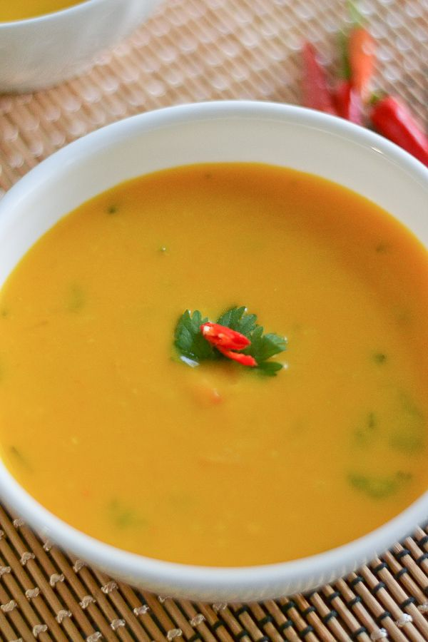 Slow Cooker Thai Pumpkin Coconut Soup 8 cups (2lbs) pumpkin or winter squash, peeled and cubed 1 red onion, chopped 2 tbsp (30 mL) grated fresh ginger 3 cloves garlic, chopped campaignIcon Shop 1 small red chili pepper 1 can (400mL) coconut milk 3 cups vegetable broth 2 tbsp fish sauce 1/2 cup (125 mL) chopped fresh cilantro 2 tbsp (30 mL) lime juice 1 tbsp (15 mL) packed brown sugar