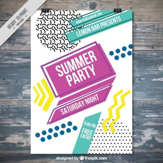 Summer party poster template in abstract style Free Vector