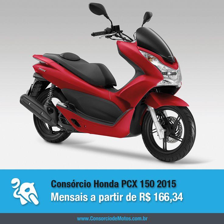 Um dos scooters mais vendidos do Brasil acaba de chegar à linha 2015. Saiba tudo sobre o Novo Honda PCX 150: https://www.consorciodemotos.com.br/noticias/honda-pcx-150-versao-2015-a-partir-de-r-166-34-mensais?idcampanha=288&utm_source=Pinterest&utm_medium=Perfil&utm_campaign=redessociais