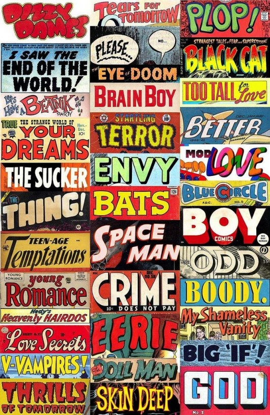 comic cooks, history, changes, titles, logos, collage, 1950s, 1960s, 1970s, God, Terror, Thing