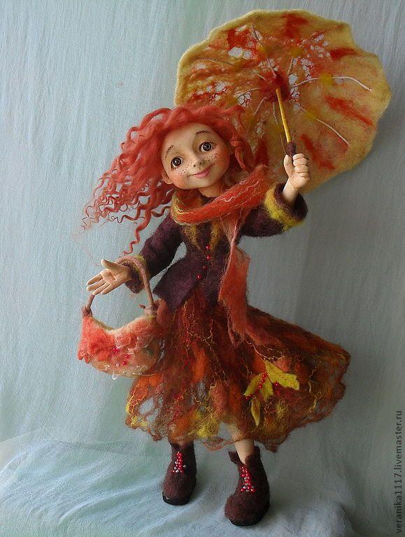 """18.10.2012 Collection Interior Doll (felt + polymer clay).   Работа дня: Коллекционная кукла """"Осень - рыжая подружка""""  Интерьерная кукла выполнена в смешанной технике - туловище, одежда и волосы сделаны из шерсти, лицо, ладони и ноги вылеплены из полимерной глины."""