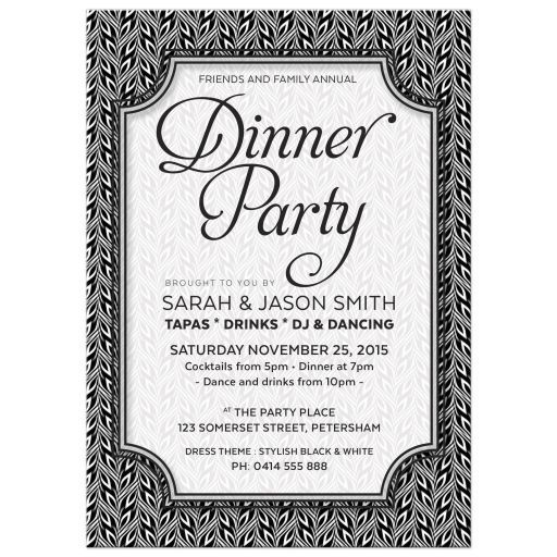 Black and white pattern Dinner Party invitation for casual or formal events.. Black and white tiny diamond shape pattern made into this stylish and simple invitation design with lots of space for custom text.
