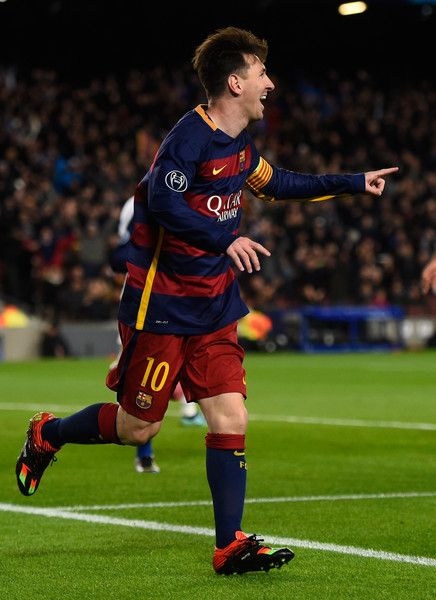 Lionel Messi of Barcelona celebrates scoring his teams second goal during the UEFA Champions League Group E match between FC Barcelona and AS Roma at Camp Nou on November 24, 2015 in Barcelona, Catalonia.