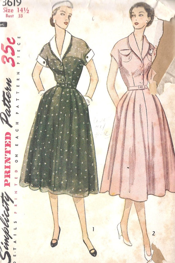 """1950s Misses Dress Vintage Sewing Pattern with Rockabilly Style Rolled Collar and Cuffs, Flared Skirt, Simplicity 3619 Bust 33"""". $13.00, via Etsy."""