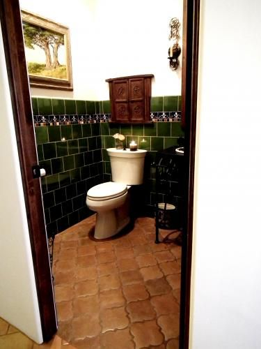 Saltillo Floor And Colored Tile Walls For The Home