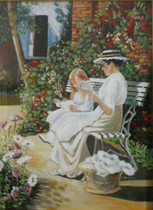 """acrilico di Simonetta Carlini da un dipinto di Leon Jamin (1872-1944) dal titolo """"au jardin """""""