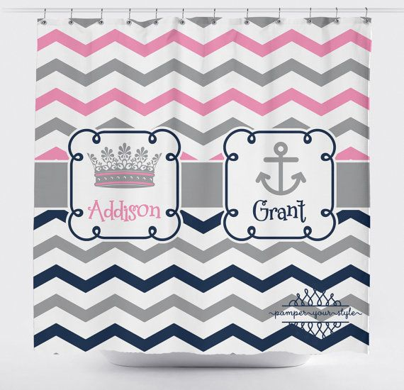 Princess and Anchor Shower Curtain  Chevron by PAMPERYOURSTYLE